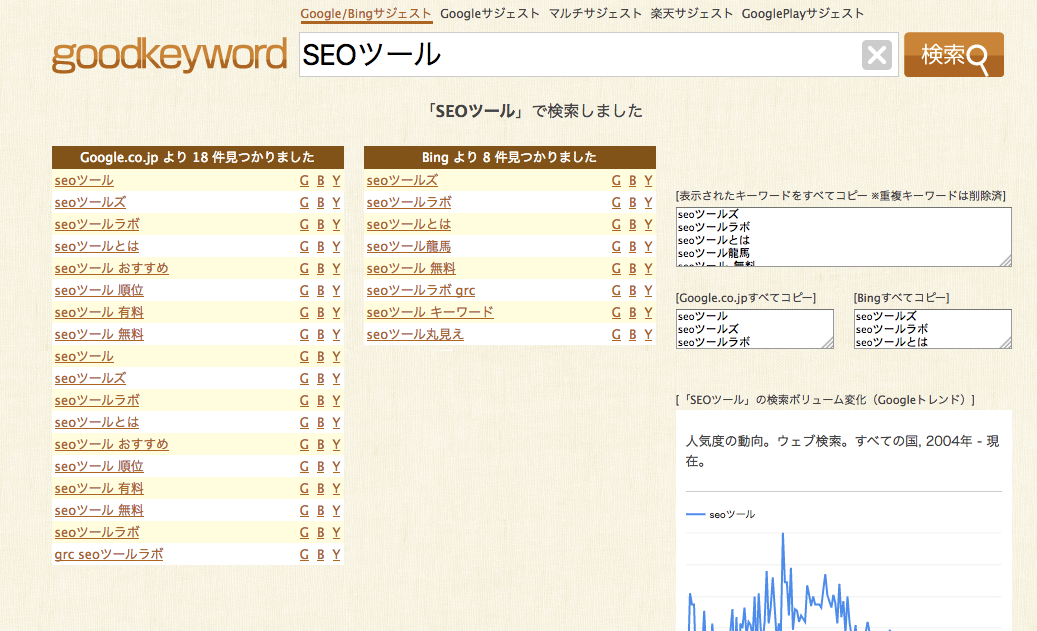 「SEOツール」の関連キーワード_-_goodkeyword